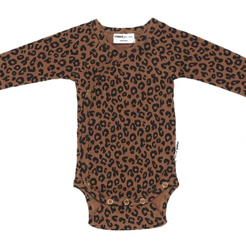 Maed for mini - Brown leopard newborn romper